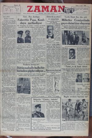 Zaman Gazetesi 7 Eylül 1934 kapağı