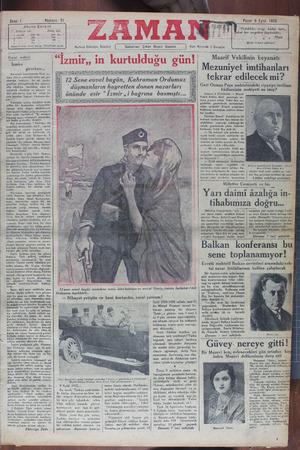 Zaman Gazetesi 9 Eylül 1934 kapağı