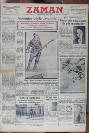 Zaman Gazetesi 10 Eylül 1934 kapağı