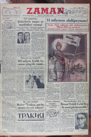 Zaman Gazetesi 11 Eylül 1934 kapağı