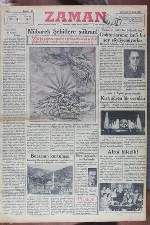 Zaman Gazetesi 12 Eylül 1934 kapağı