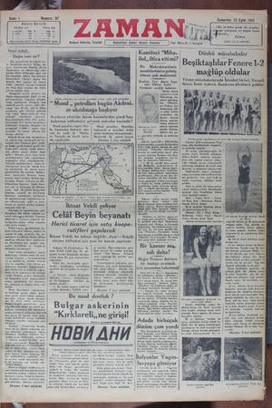 Zaman Gazetesi 15 Eylül 1934 kapağı