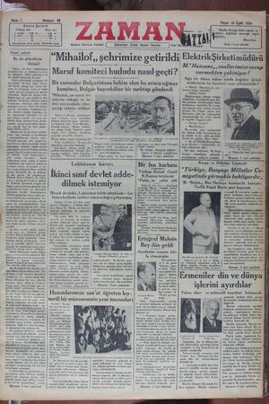 Zaman Gazetesi 16 Eylül 1934 kapağı
