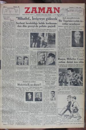 Zaman Gazetesi 17 Eylül 1934 kapağı