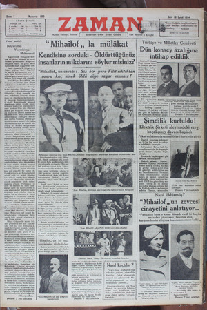 Zaman Gazetesi 18 Eylül 1934 kapağı