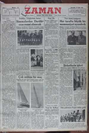Zaman Gazetesi 19 Eylül 1934 kapağı