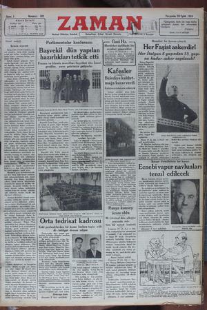 Zaman Gazetesi 20 Eylül 1934 kapağı
