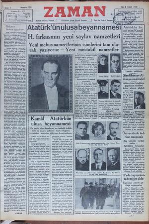 """Alalürk unulusabeyannamesi H. fırkasının yeni saylav namzetleri Yeni mebus namzetlerinin isimlerini tam ola- Atatürkün öz- adı olan Kamâl Türkçe """"Ordu vekale,, manasınadır, arab- ca bir kelime de;"""