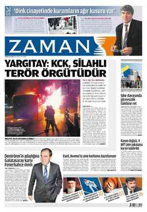 Zaman Gazetesi 21 Şubat 2012 kapağı