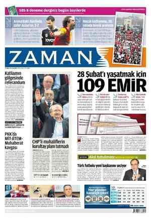 Zaman Gazetesi 27 Şubat 2012 kapağı