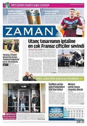 Zaman Gazetesi 5 Mart 2012 kapağı