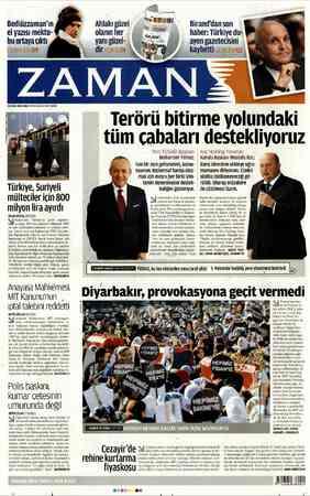 Bediüzzaman'ın el yazısı mektu- bu ortaya çıktı Türkiye, Suriyeli mülteciler için 800 milyon lira ayırdı ERCAN...